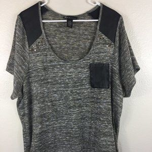 Lane Bryant Grey Black Shirt Gold Thread Brass